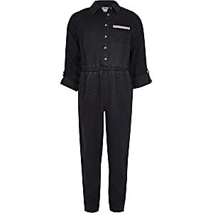 Combinaison en jean bleu avec bande contrastante fille