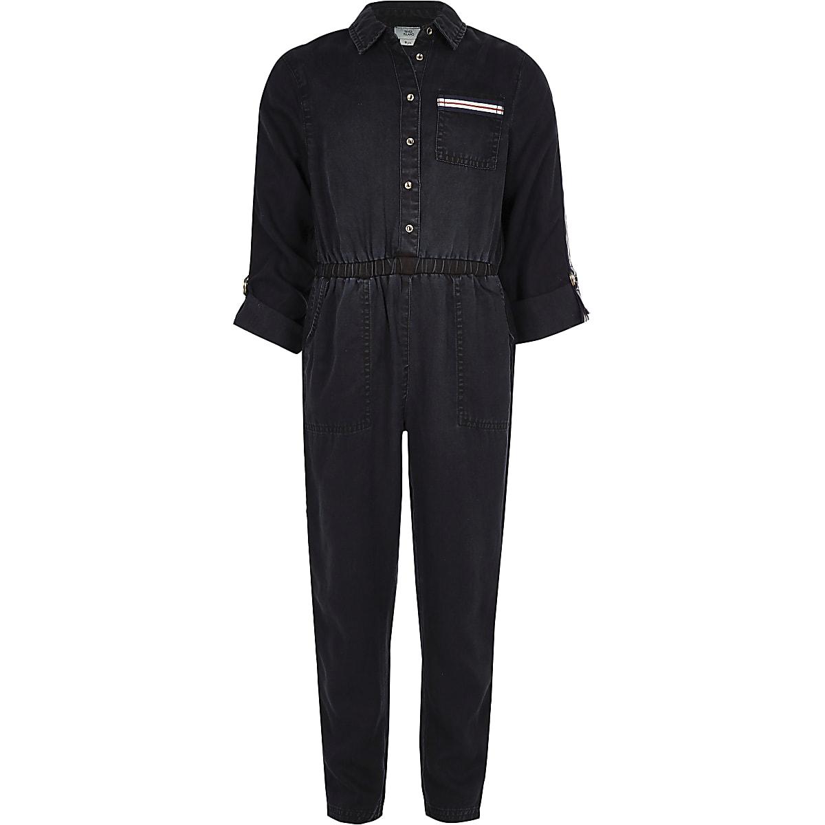 Girls blue tape denim jumpsuit
