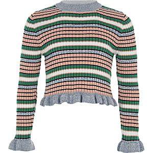 Girls blue stripe frill sleeve jumper