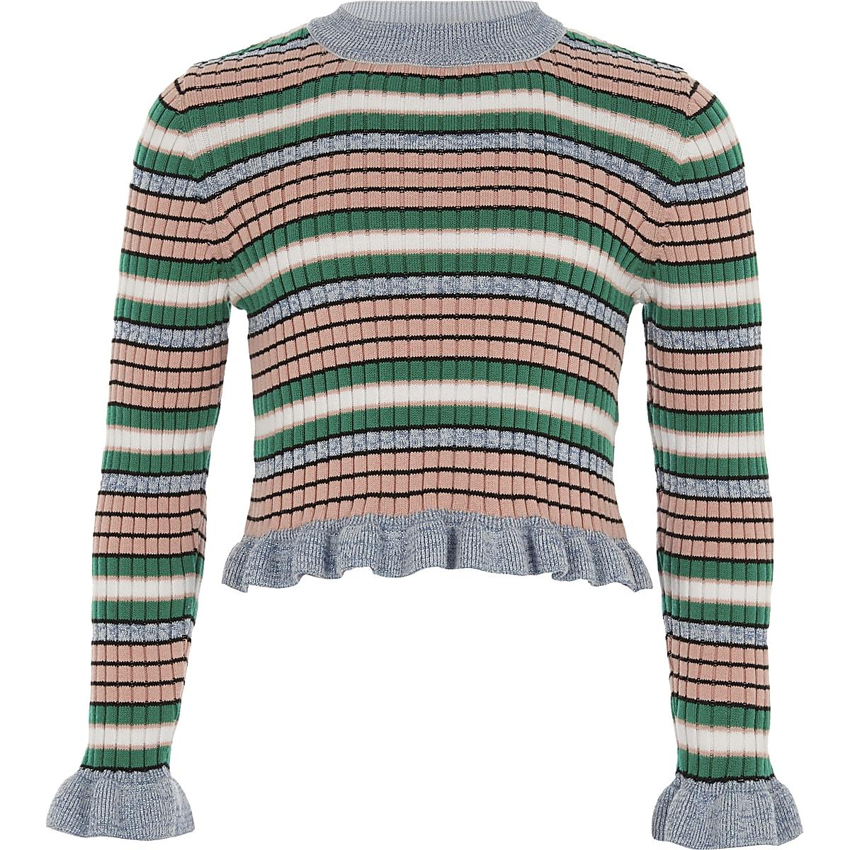Girls blue stripe frill sleeve sweater