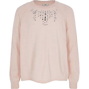 Girls pink embellished knit sweater