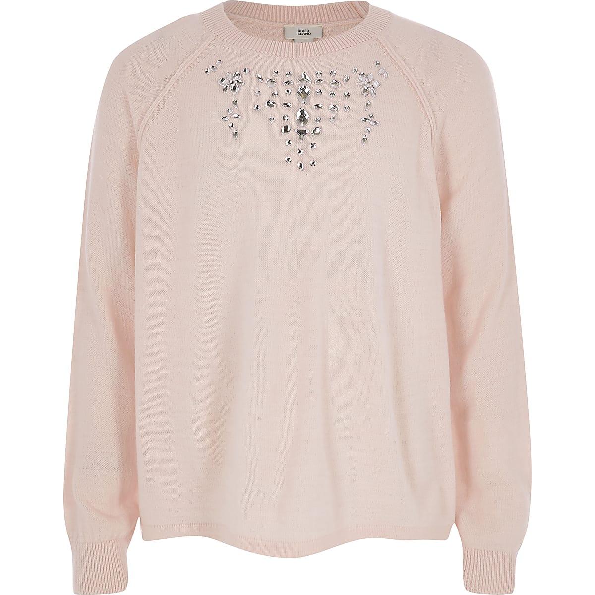 Girls pink embellished knit jumper
