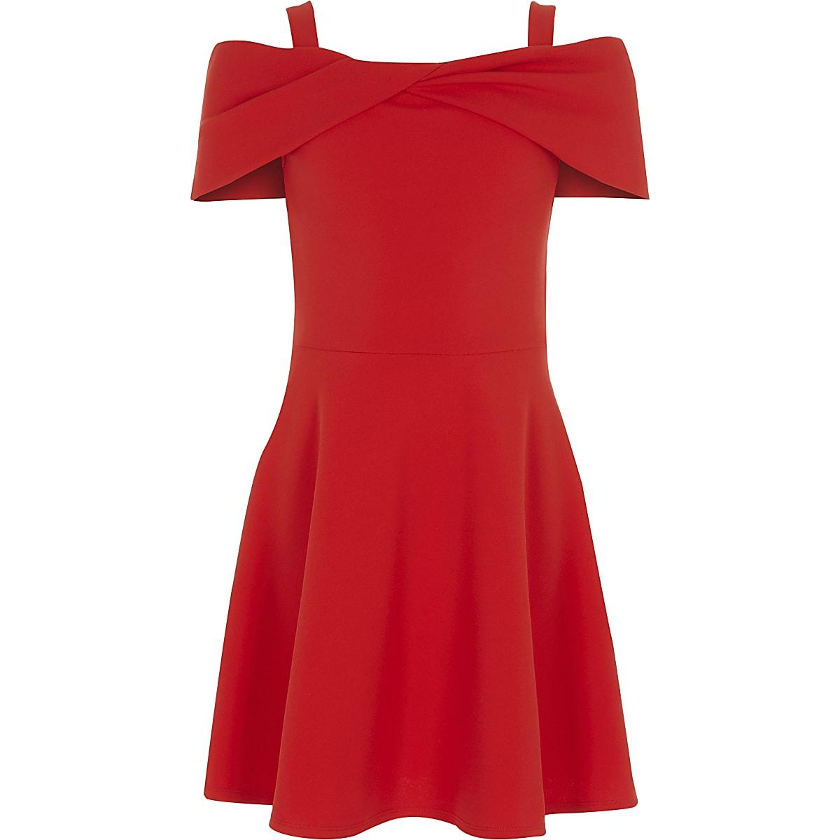 3b6a9f1c9cec9 Robe patineuse Bardot en néoprène rouge à nœud pour fille - Robes de ...