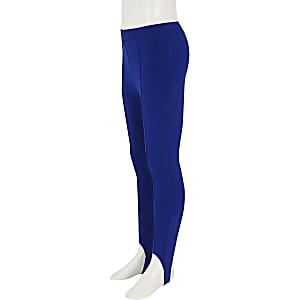 Girls blue stirrup leggings
