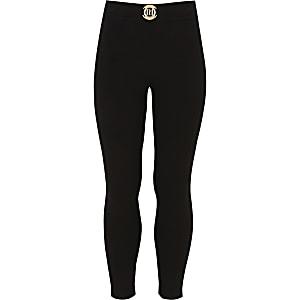Zwarte ponte legging met RI-logo voor meisjes