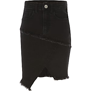 Girls black asymmetric denim tube skirt