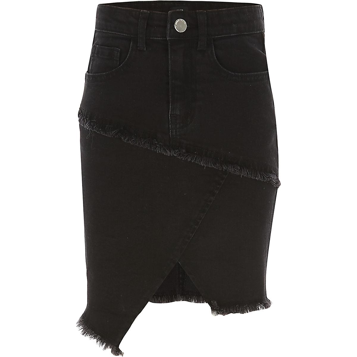 Girls black asymmetric denim tube skirt