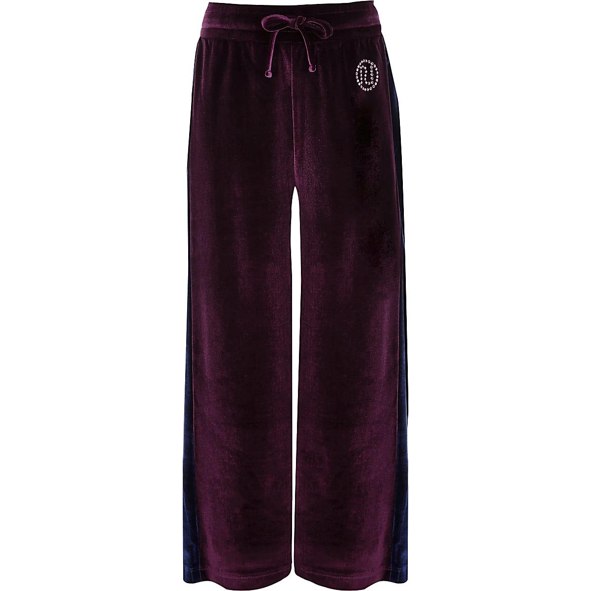 b70f1e5c75d Girls purple velour side stripe trousers - Casual Trousers - Trousers -  girls