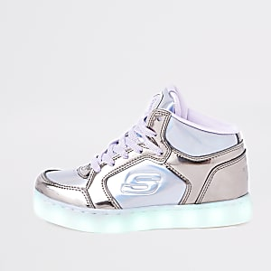 Skechers - Paarse hoge sneakers met lichtjes voor meisjes