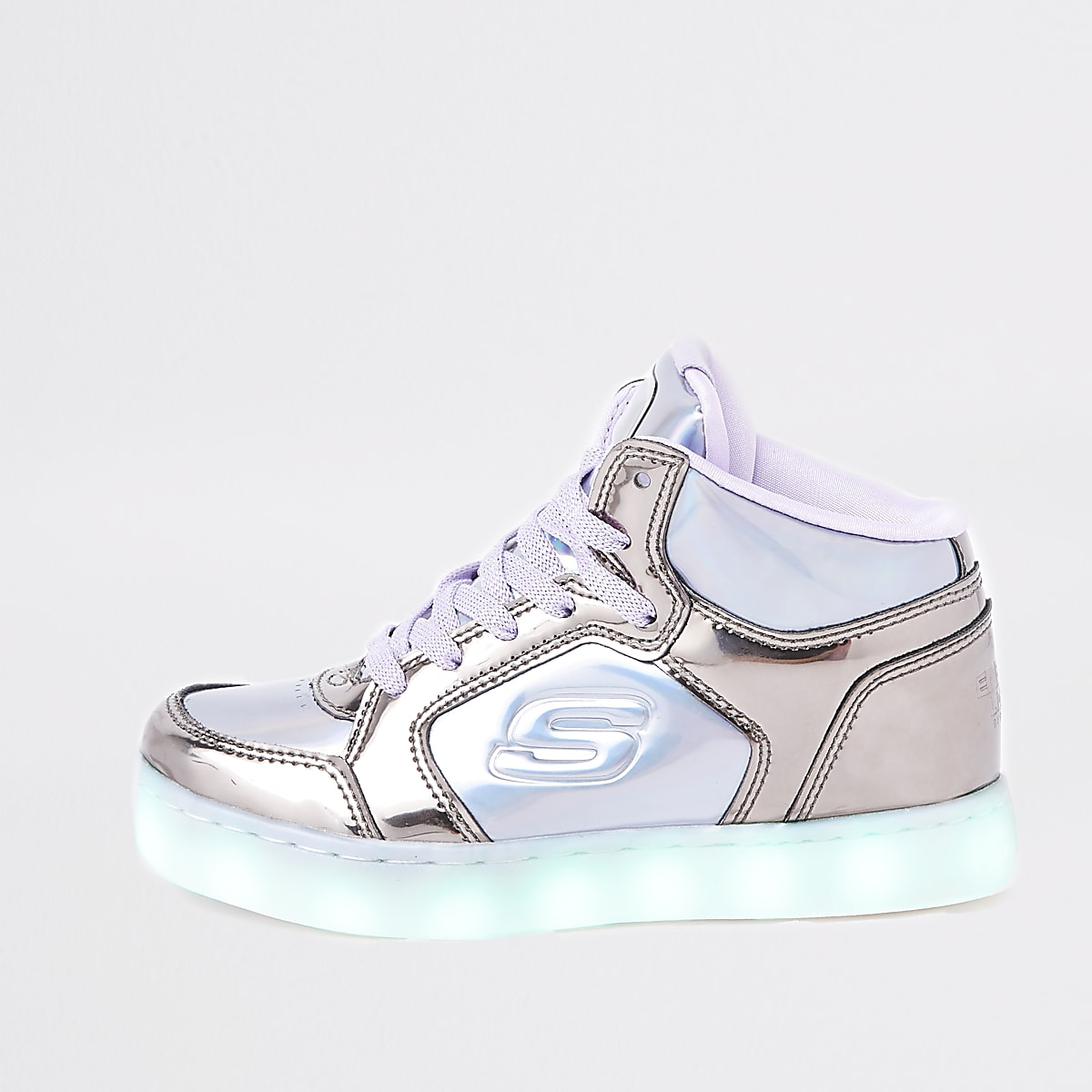 Girls purple Skechers light-up hi top sneaker