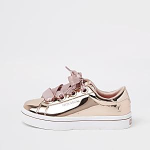 Skechers – Baskets basses or rose pour fille