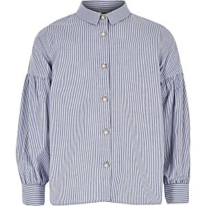 Blauw gestreept overhemd met pofmouwen voor meisjes