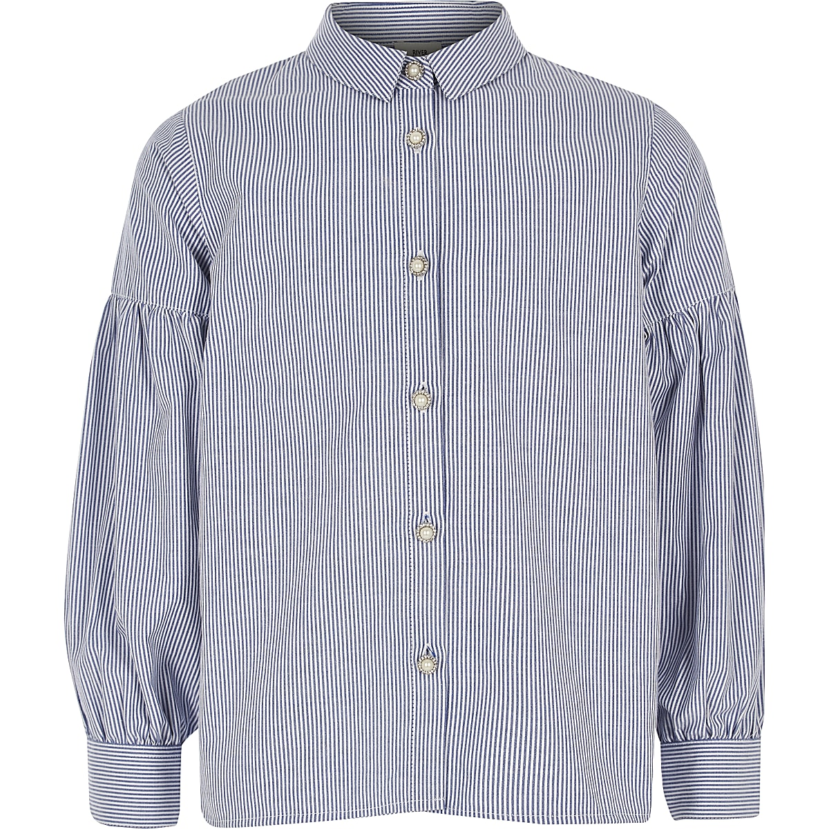 Girls blue stripe puff sleeve shirt