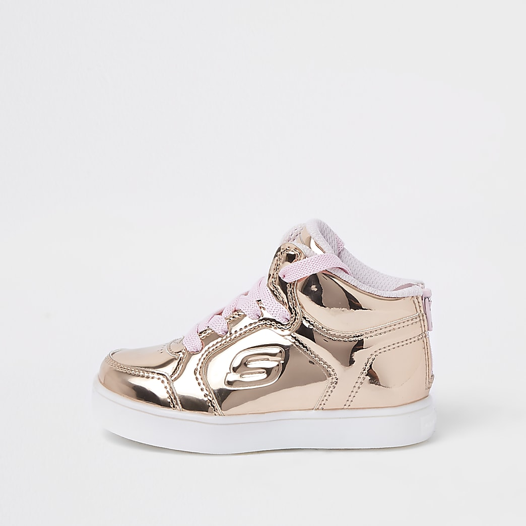Mini girls Skechers rose gold hi-top trainers