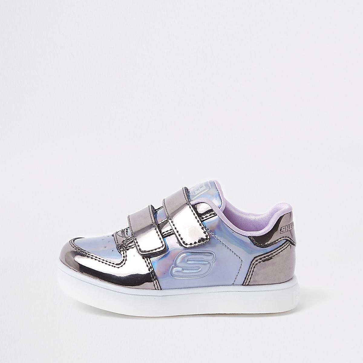 524f58fb010 Skechers – Baskets lumineuses violettes mini fille Skechers – Baskets  lumineuses violettes mini fille ...