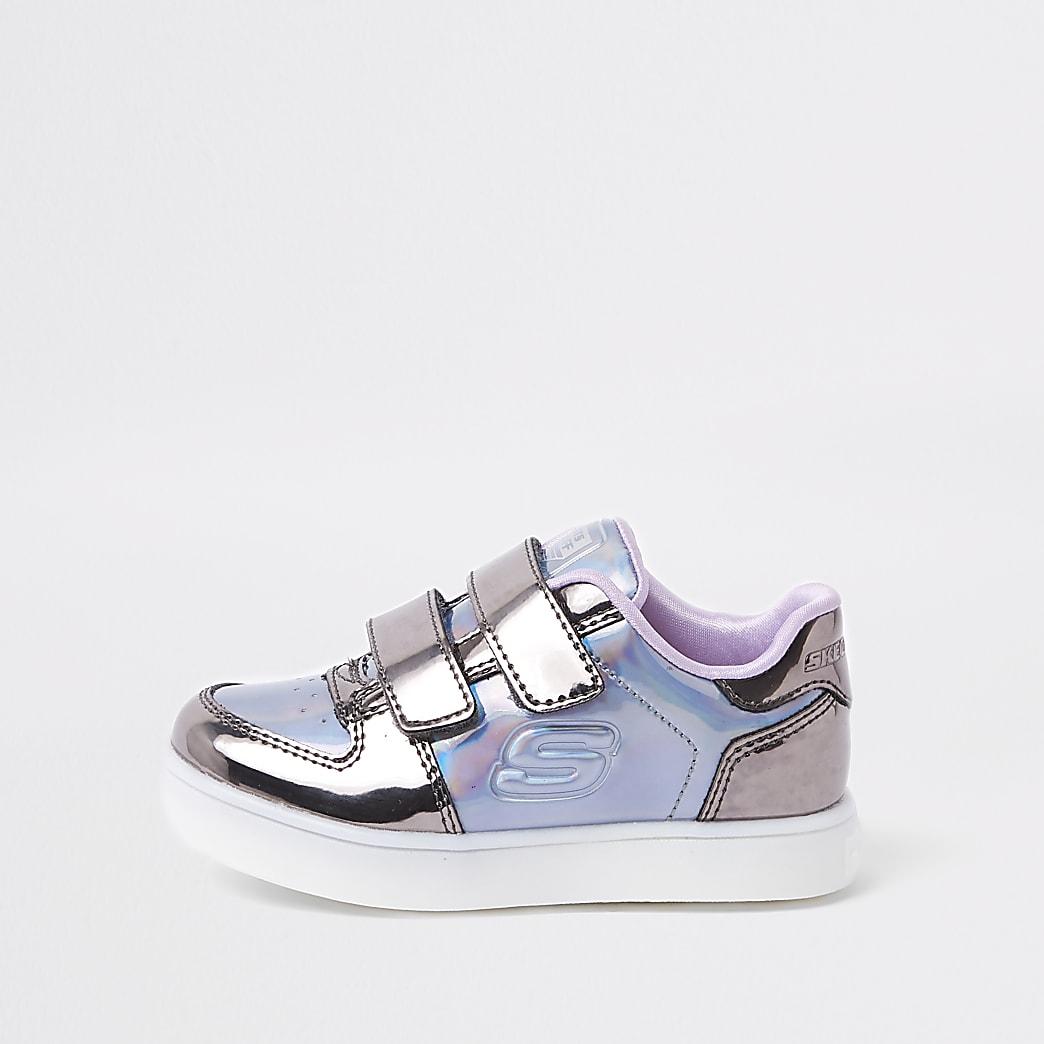 Mini girls Skechers purple light-up trainers
