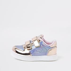 Skechers – Baskets roses métallisées mini fille