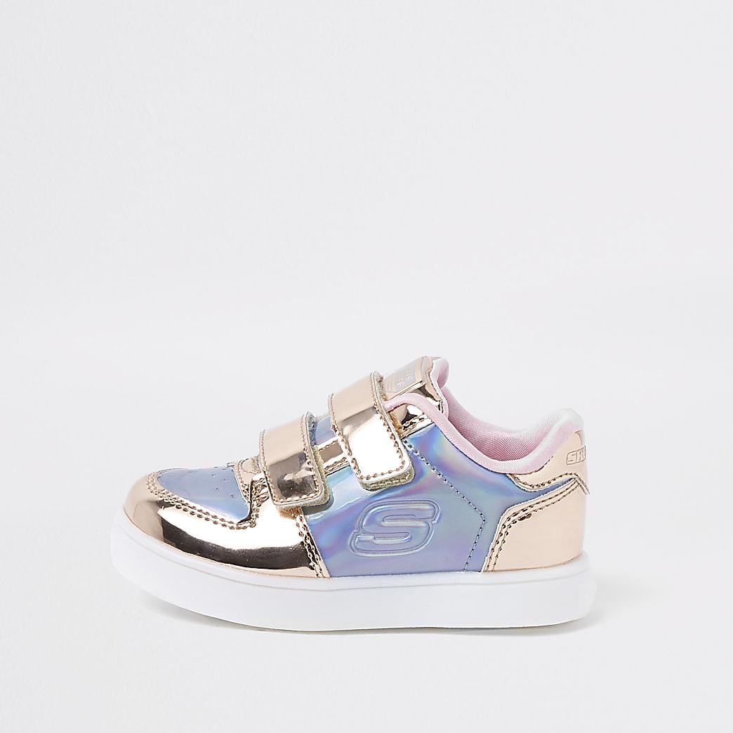 Mini girls Skechers pink metallic trainers