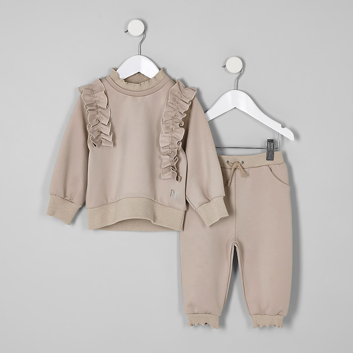 Mini girls cream frill sweatshirt outfit