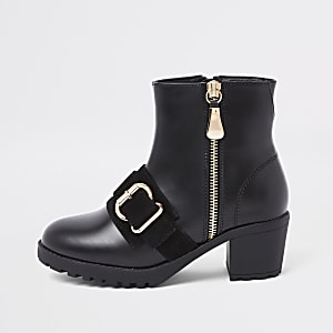 Girls black buckle chunky ankle boots