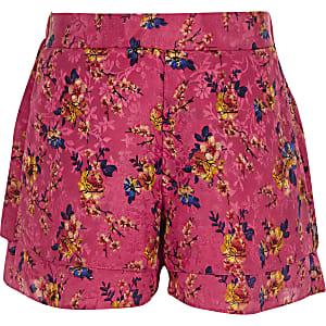 Short en jacquard à fleurs rose pour fille