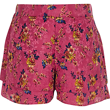 Girls pink floral jacquard shorts