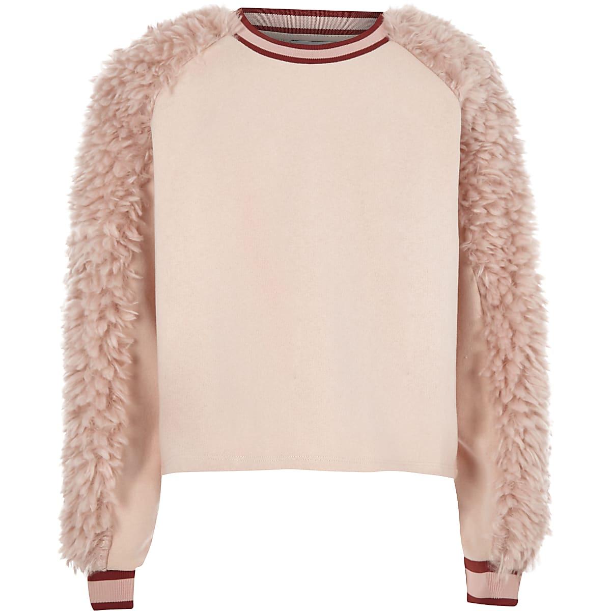 Girls pink faux fur panel sweat jumper