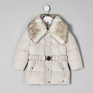 Mini girls faux fur collar belted coat
