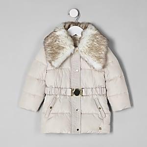 Manteau à ceinture avec col en fausse fourrure mini fille