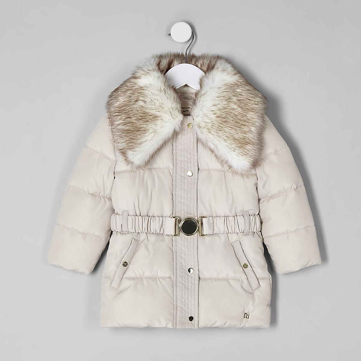 4288cdb41cf8e Manteau à ceinture avec col en fausse fourrure mini fille - Manteaux ...