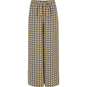 Bruine broek met wijde pijpen en pied-de-poule-print voor meisjes