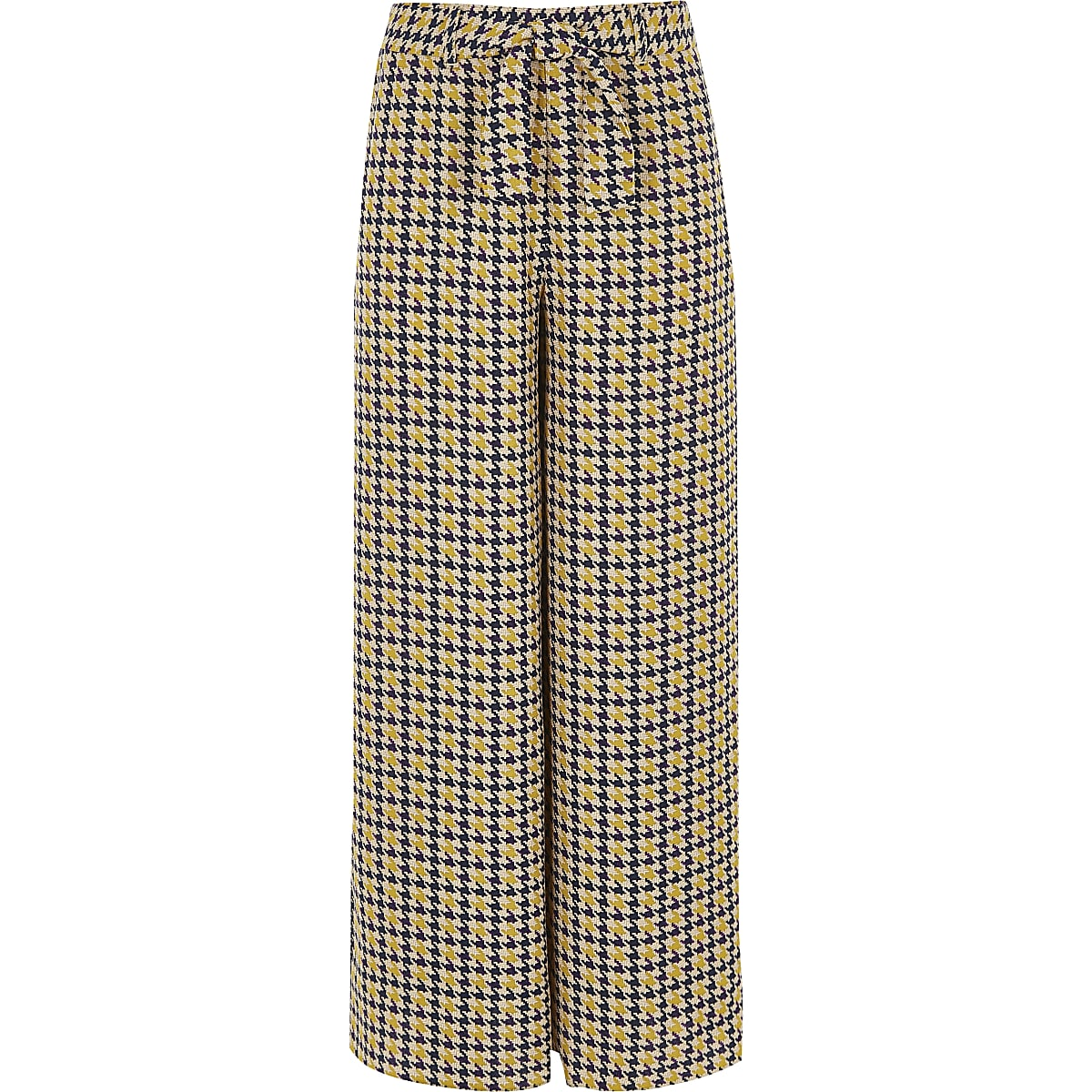 Girls brown houndstooth check wide leg pants