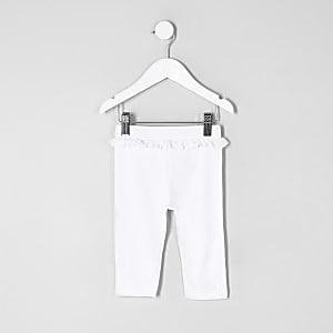 Mini - Witte cropped legging met ruches bij de taille voor meisjes