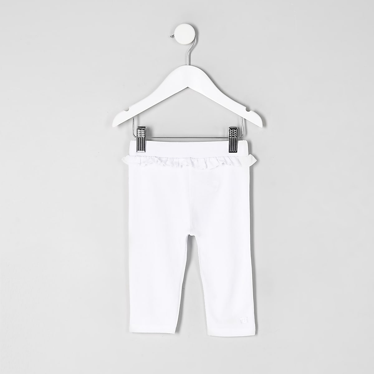 Mini girls white ruffle waist crop leggings