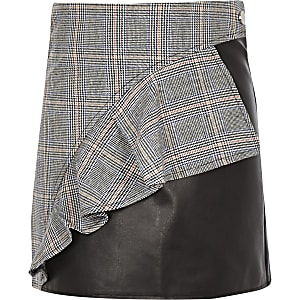 Girls black check print leather frill skirt