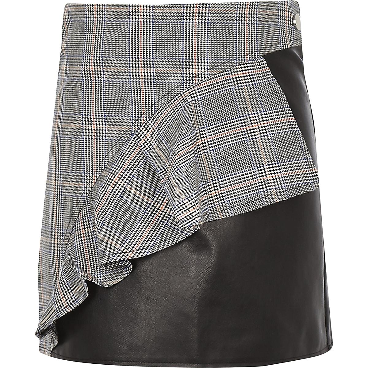 bfae1410f33b66 Girls black check print leather frill skirt
