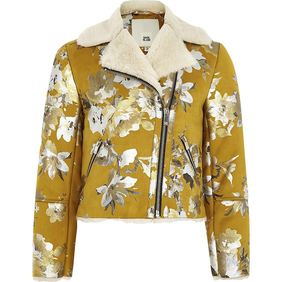 Girls yellow floral biker jacket