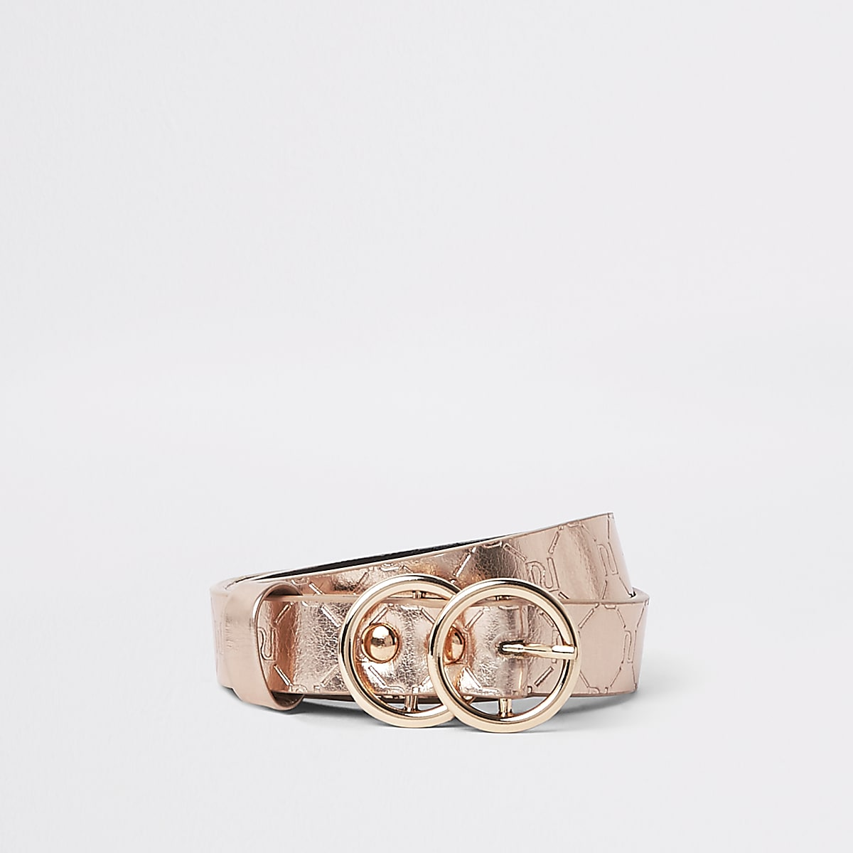 Girls pink metallic RI monogram belt