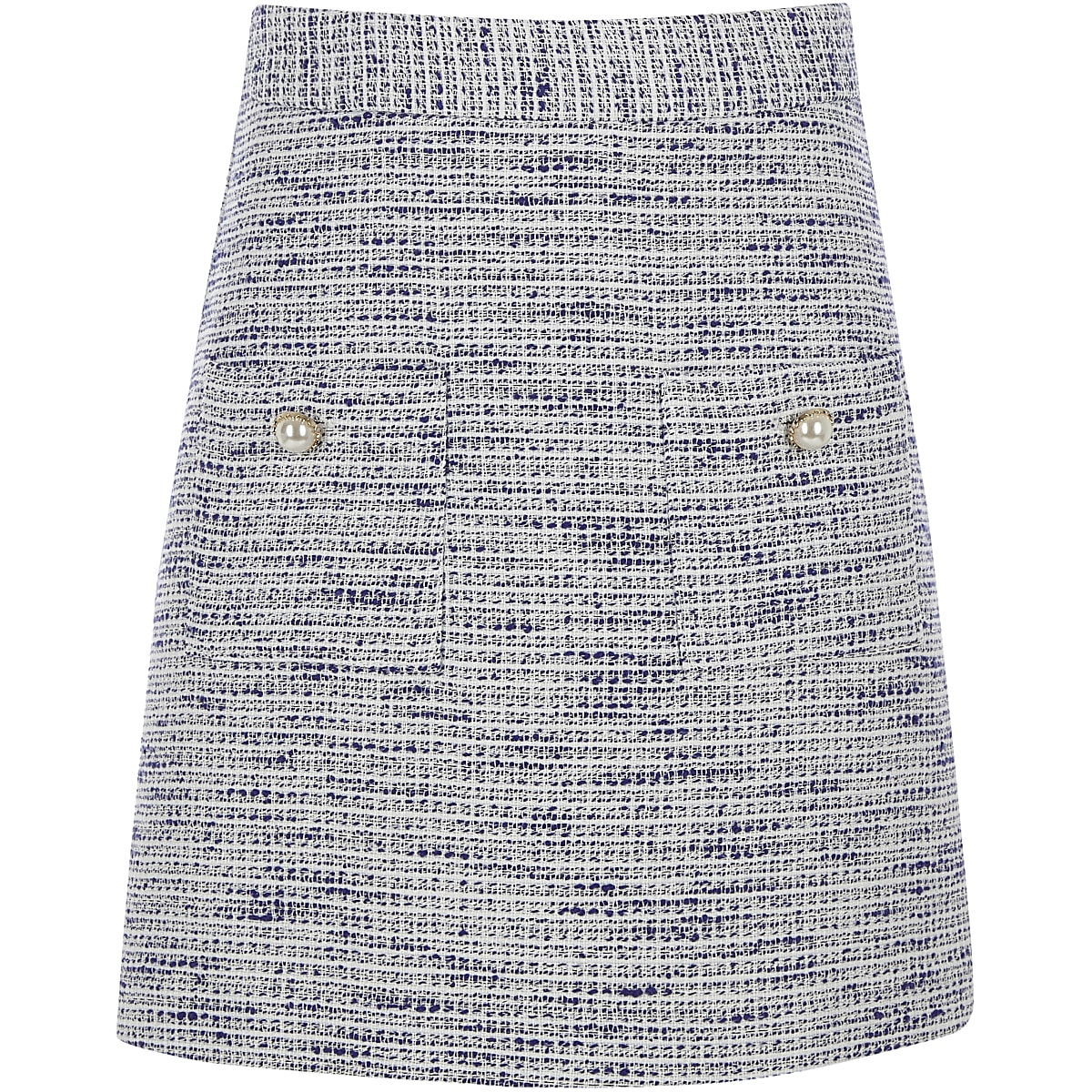 Girls blue boucle mini skirt