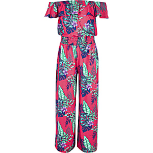 Pinker Bardot-Overall mit tropischem Print