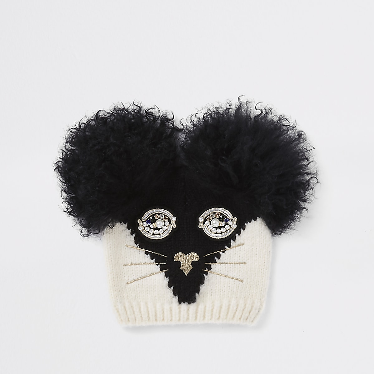 RI 30 girls black cat face beanie hat