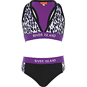 Bikini in Lila mit Leopardenprint