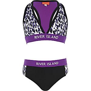 Bikini imprimé léopard violet pour fille