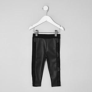 Mini - Zwarte legging met geschulpte voorkant voor meisjes