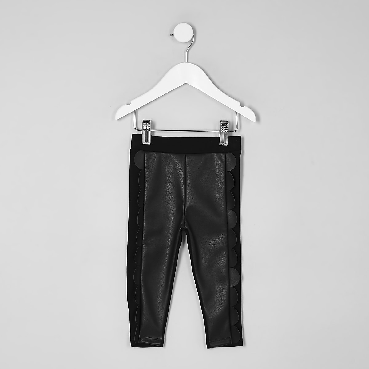Mini girls black scallop front leggings