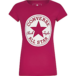 Girls Converse pink logo printed T-shirt