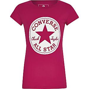 Converse – Pinkes T-Shirt mit Logo-Aufdruck für Mädchen