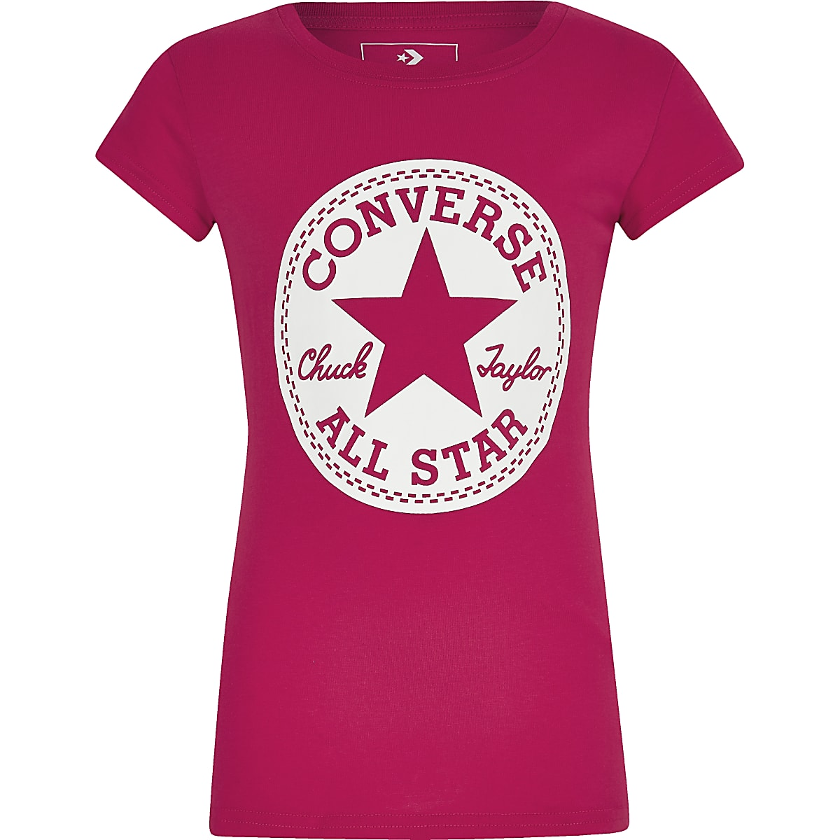 Girls Converse pink logo printed T-shirt