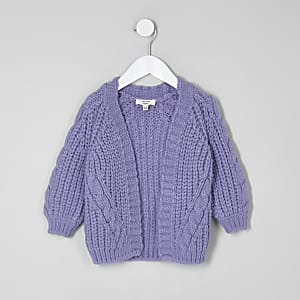 Mini girls purple chunky cable knit cardigan