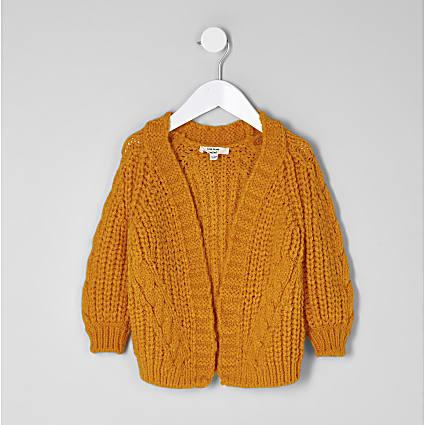 Mini girls yellow chunky cable knit cardigan